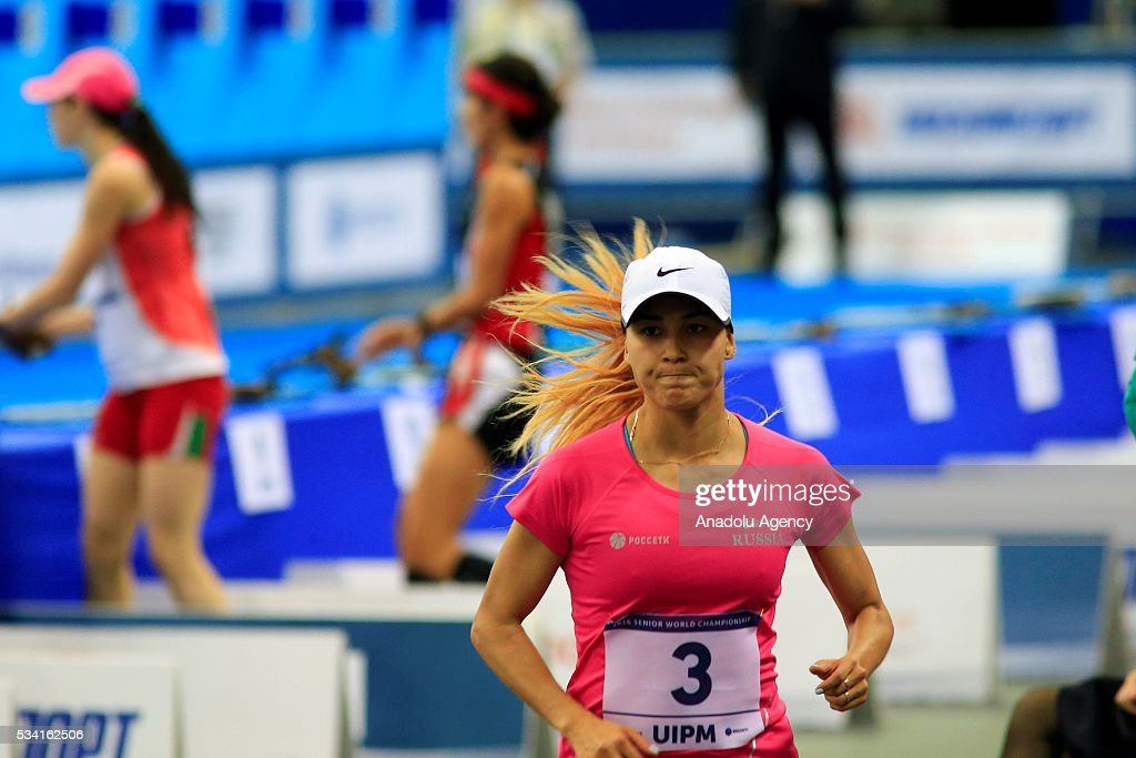 Gulnaz Gubaydullina of Russia is seen before on the Combined of the Women Qualifications at the UIPM senior modern pentathlon world championships in Moscow, Russia, on May 25, 2016.