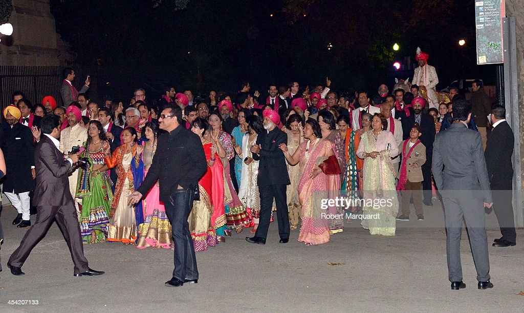 Gulraj Behl arrives on horseback for his wedding to Shristi Mittal held at the Museo Nacional de Arte de Catalunya (MNAC) on December 7, 2013 in Barcelona, Spain.