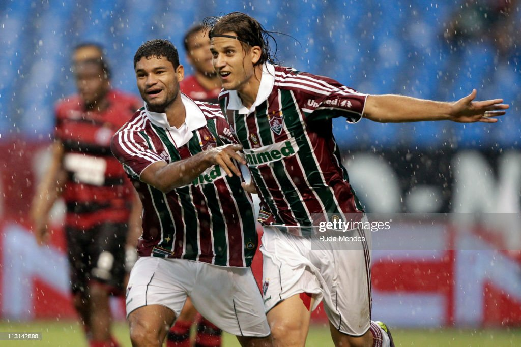 Gum and Rafael Moura of Fluminense celebrate scored goal during a match as part Semifinal of Rio de Janeiro State Championship 2011 at Engenhao...
