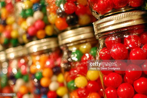 Gum balls in glass jars
