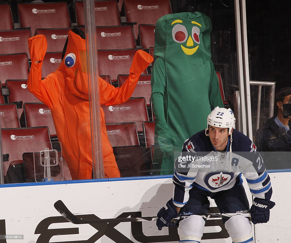 Gumby and Pokey keep an eye on Chris Thorburn of the Winnipeg Jets at the BankAtlantic Center on October 31 2011 in Sunrise Florida