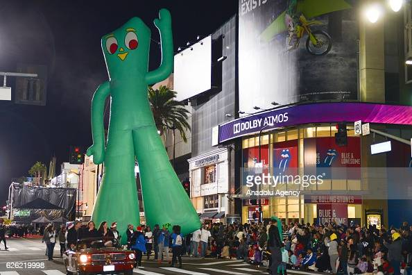 Gumby balloon floats through the 85th Hollywood Christmas Parade in Hollywood CA United States on November 27 2016 Parade brings marching bands...