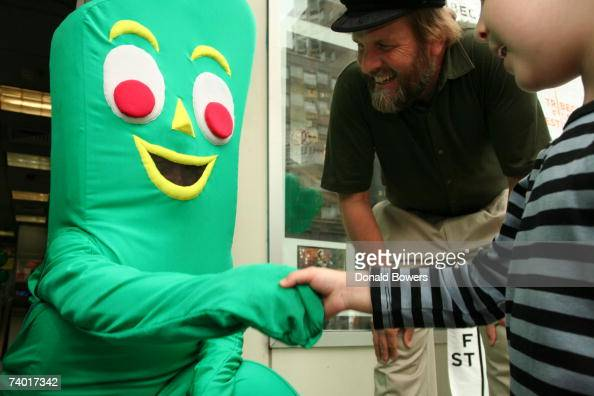 Gumby greets children outside of the theatre before the premiere of 'Gumby' at the 2007 Tribeca Film Festival on April 28 2007 in New York City