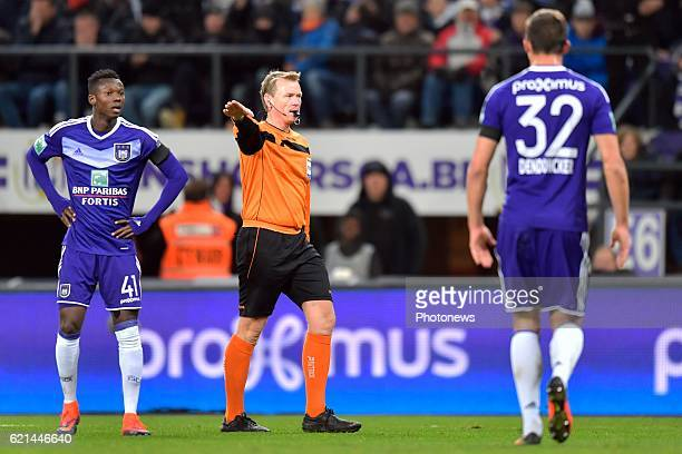Gumienny Serge referee gives a penalty to Oostende during the Jupiler Pro League match between RSC Anderlecht and KV Oostende at the Constant Vanden...