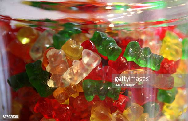 Gummi Bears are displayed in a glass jar at Sweet Dish candy store April 3 2009 in San Francisco California As the economy continues to struggle...