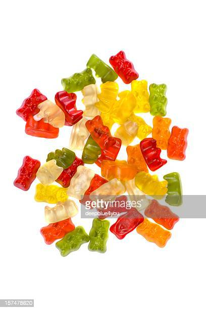 Gummy bears Haufen auf weißem Hintergrund