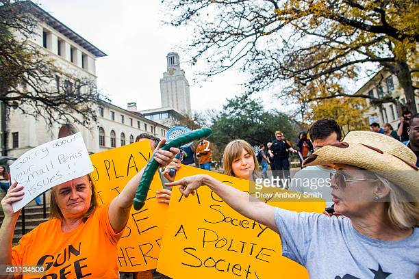Gun activists clash with protesters close to The University of Texas campus December 12 2015 in Austin Texas In addition to the event put on by...