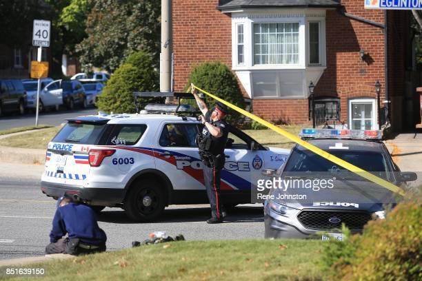 Gun Call Police blocked off a wide area of Eglington and Rumsey looking for a man with a gun The area is filled with schools that were locked down...