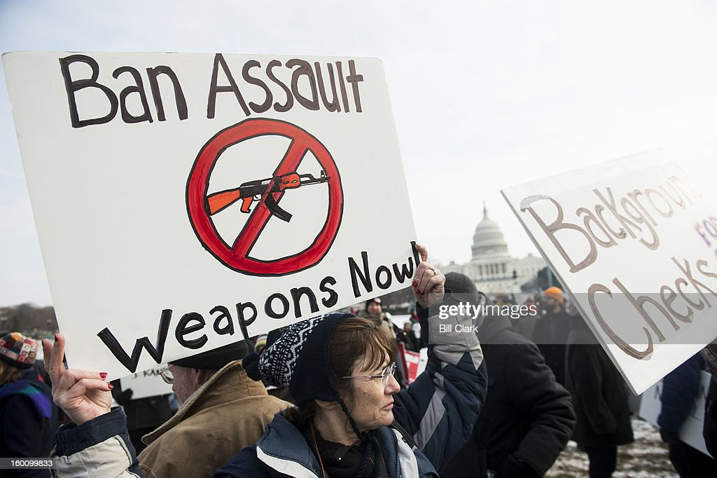 Gun control supporters march from the U.S. Capitol to the Washington Monument to call on Congress to pass gun control measures on January. 26, 2013 in Washington, D.C.