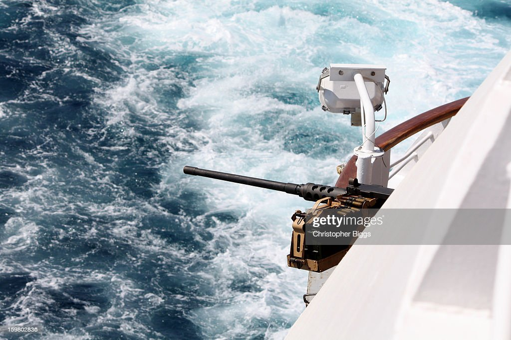 CONTENT] Gun equipment installed by French Navy contingent deployed on board the luxury cruise ship Seabourn Spirit while in transit in a safety convoy through the Gulf of Aden. The Gulf adjoins Somalia.