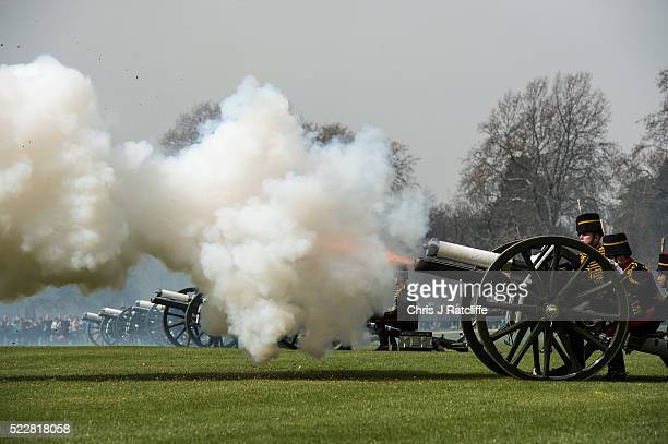 A gun fires during a 41 gun royal salute to mark the 90th birthday of Queen Elizabeth II at Hyde Park on April 21 2016 in London England 71 horses...