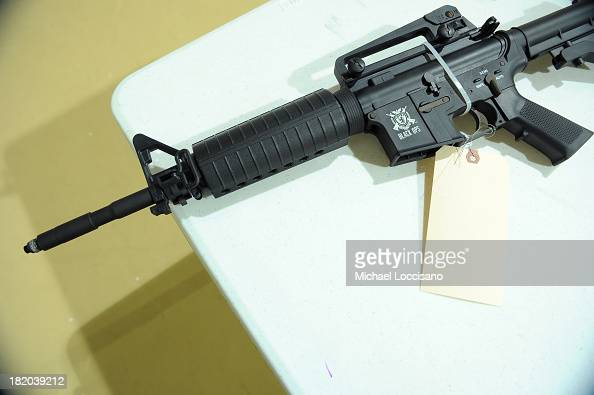BB gun modeled after an assault rifle is checked in during a state and county sponsored gun buyback at Sayre Woods Bible Church on September 27 2013...