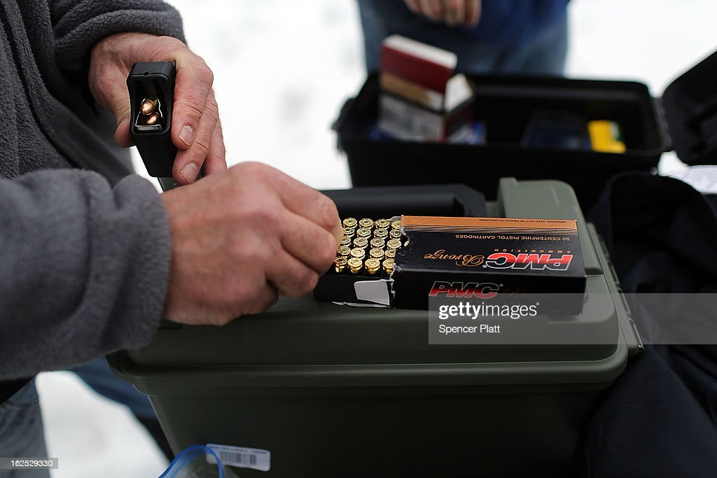 A gun owner loads bullets into his pistol at a class taught by King 33 Training at a shooting range on February 24, 2013 in Wallingford, Connecticut. King 33 Training, a company that trains and educates individuals on the safe and proper use of guns and other uses of protective force, offers classes to marksmen of all levels. The Connecticut company offers training for clients interested in maintaining a safe environment for themselves, their families, and those around them. Connecticut, home to a number of gun manufactures including Colt Defense, is a state with conflicting views on guns and gun ownership. Currently the state has some of the strictest gun control laws in the nation and its current governor Daniel Malloy is pushing for tougher measures following the shootings at the Sandy Hook School.