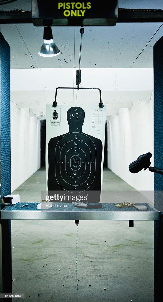 Gun range target after use