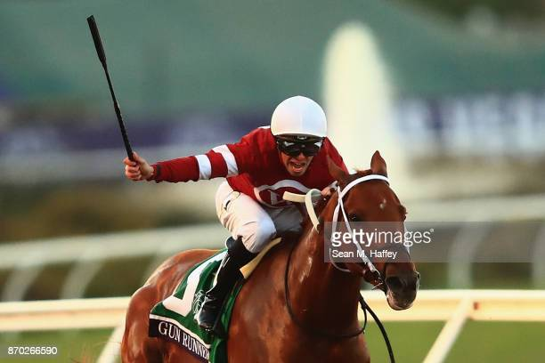 Gun Runner ridden by Florent Geroux wins the Breeders' Cup Classic on day two of the 2017 Breeders' Cup World Championship at Del Mar Race Track on...