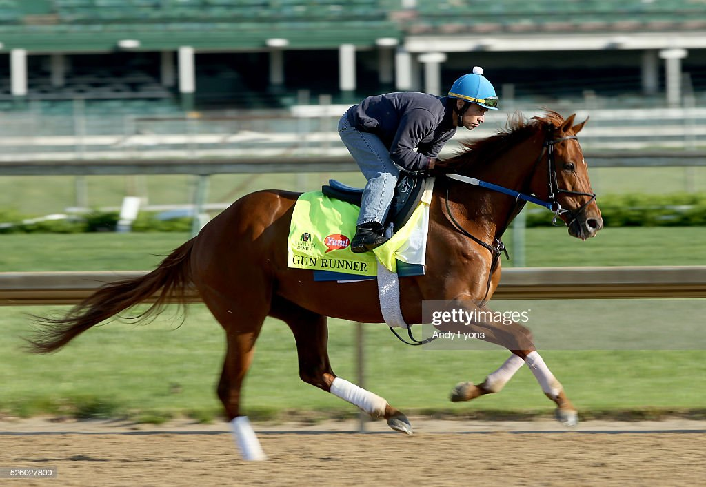 Gun Runner runs on the track during morning training for the 2016 Kentucky Derby at Churchill Downs on April 29, 2016 in Louisville, Kentucky.