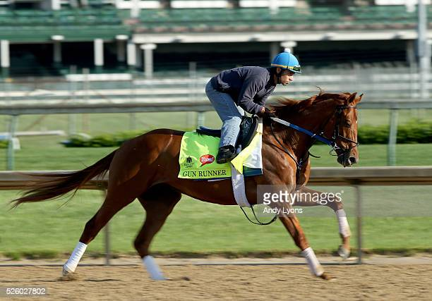 Gun Runner runs on the track during morning training for the 2016 Kentucky Derby at Churchill Downs on April 29 2016 in Louisville Kentucky