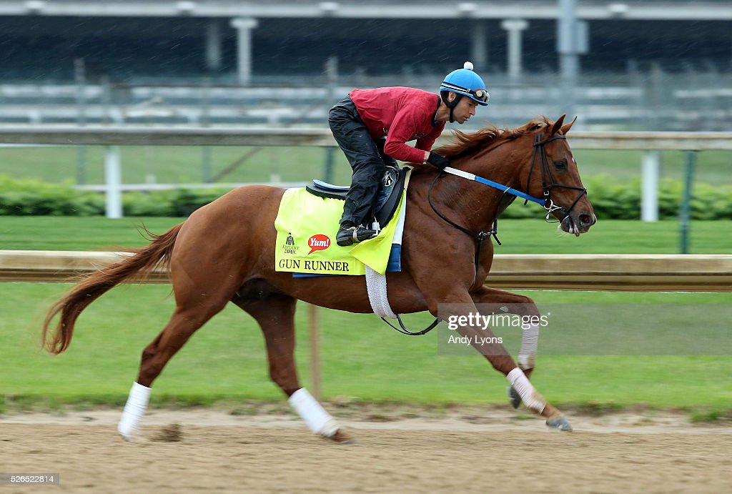Gun Runner runs on the track during the Morning training for the 2016 Kentucky Derby at Churchill Downs on April 30, 2016 in Louisville, Kentucky.