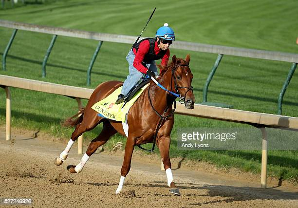 Gun Runner runs on the track during the morning training for the 2016 Kentucky Derby at Churchill Downs on May 02 2016 in Louisville Kentucky