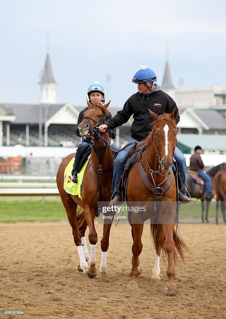 Gun Runner walks off of the track during the morning training for the 2016 Kentucky Derby at Churchill Downs on May 04, 2016 in Louisville, Kentucky.