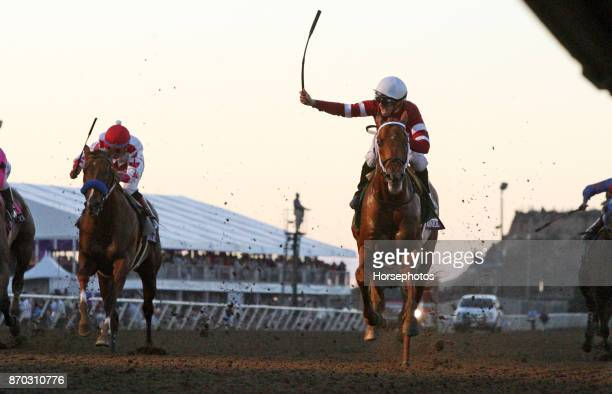 Gun Runner with Florent Geroux up wins the Breeders Cup Classic at Del Mar Race Track on November 4 2017 in Del Mar California