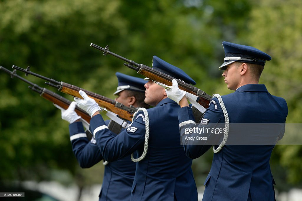 A gun salute for 30 Veterans by the Air Force Mile High Honor at Ft. Logan June 25, 2016. Missing in America Project interned the unclaimed remains of 30 WWII, Korea, and Vietnam Veterans at the Ft. Logan National Cemetery of June 25, 2016.