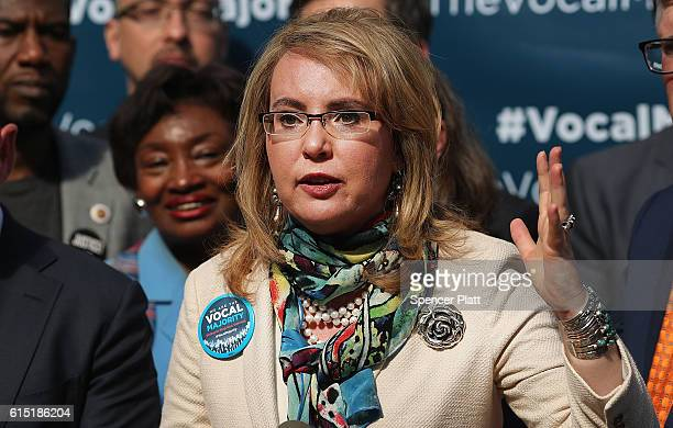 Gun violence victim and former US Congresswoman Gabby Giffords during a visit to City Hall on her 2016 Vocal Majority Tour on October 17 2016 in New...