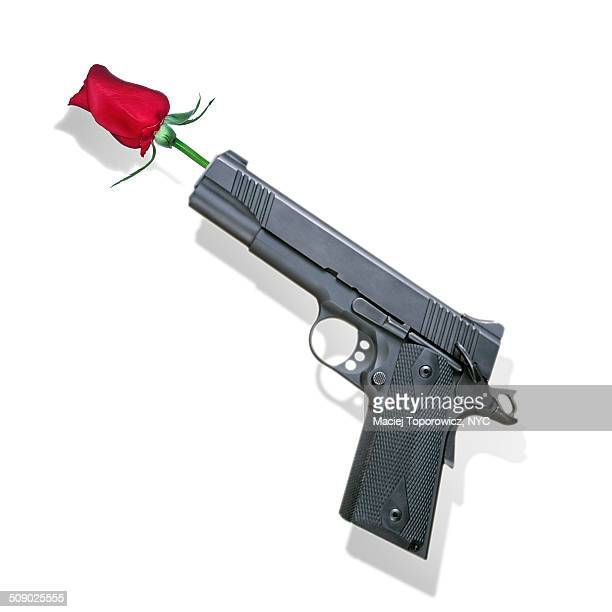 Gun with a flower stuck in the barrel.
