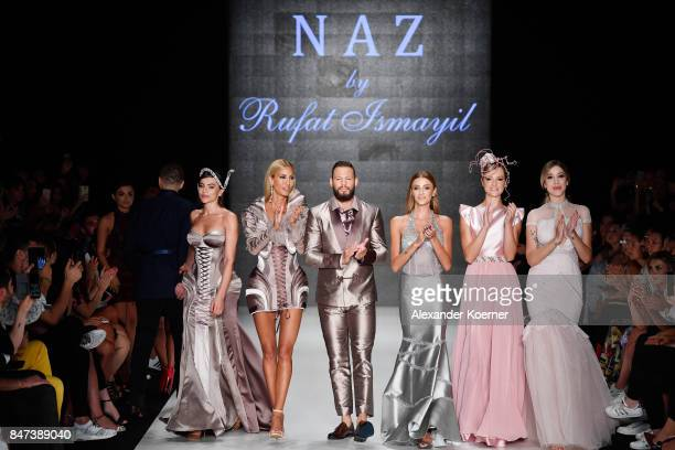 Gunay Musayeva Cagla Sikel Avatar Atakan Ozu Ulusoy and Sebnem Sheffer walk the the runway at the Naz by Rufat Ismayilov show during MercedesBenz...