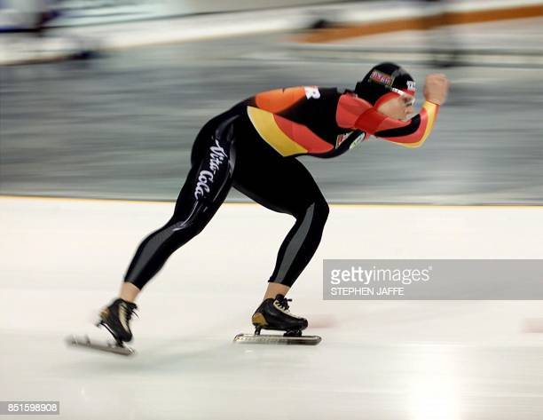 Gunda NiemannStirnemann of Germany speeds to a new world record in the women's 5000meter race with a time of 65244 minutes during the World Speed...