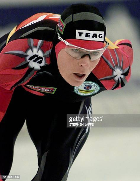 Gunda NiemannStirnemann of Germany speeds towards a new world record in the women's 5000meter race with a time of 65244 minutes during the World...