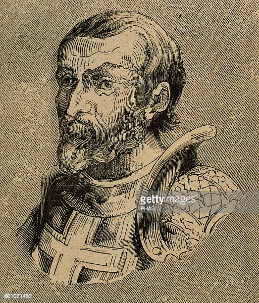 Gundemar Visigothic King of Hispania Septimania and Galicia Engraving Portrait