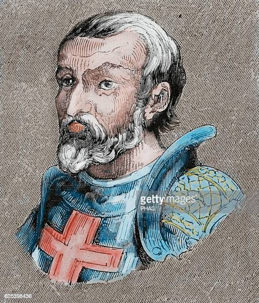 Gundemar Visigothic King of Hispania Septimania and Galicia Portrait Engraving Colored