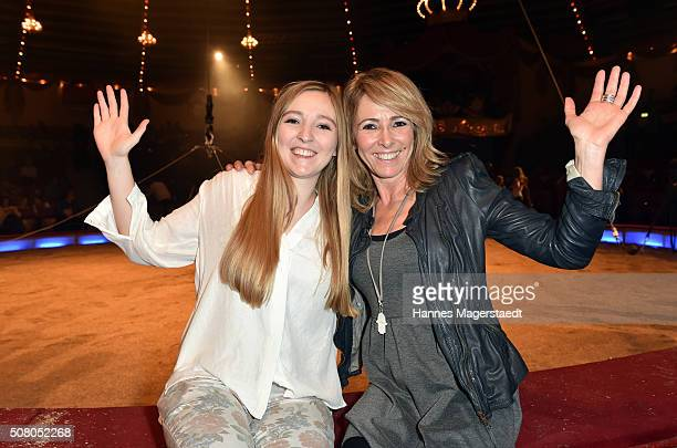 Gundis Zambo and her daughter Greta during the premiere of the Circus Krone program 'Circus der Preistraeger' at Circus Krone on February 2 2016 in...