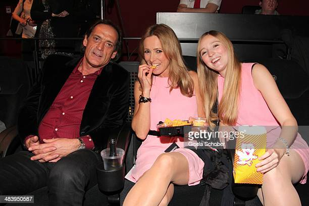 Gundis Zambo with her husband Christoph Mahrdt and her daughter Greta attend the premiere of the film 'Irre sind maennlich' at Mathaeser Filmpalast...