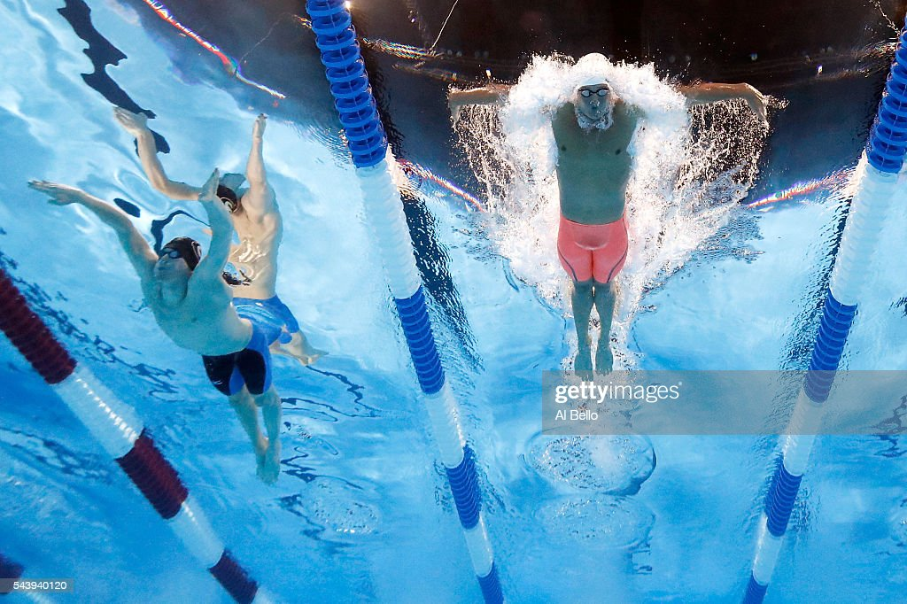 Gunnar Bentz and <a gi-track='captionPersonalityLinkClicked' href=/galleries/search?phrase=Ryan+Lochte&family=editorial&specificpeople=182557 ng-click='$event.stopPropagation()'>Ryan Lochte</a> of the United States compete in a heat for the Men's 200 Meter Individual Medley during Day Five of the 2016 U.S. Olympic Team Swimming Trials at CenturyLink Center on June 30, 2016 in Omaha, Nebraska.