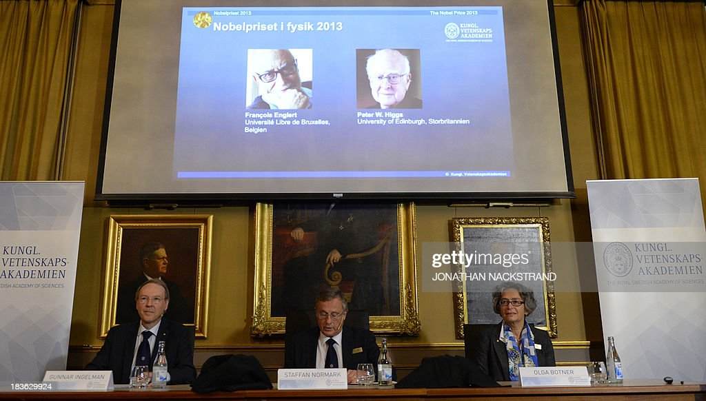 Gunnar Ingelman, Staffan Normark and Olga Botner give a press conference to announce the laureates of the 2013 Nobel Prize in Physics on October 8, 2013 at the Nobel Assembly at the Royal Swedish Academy of Sciences in Stockholm. Francois Englert of Belgium and Peter Higgs of Britain won the Nobel Physics Prize for the discovery of the 'God particle', the Higgs Boson that explains why mass exists, the jury said.