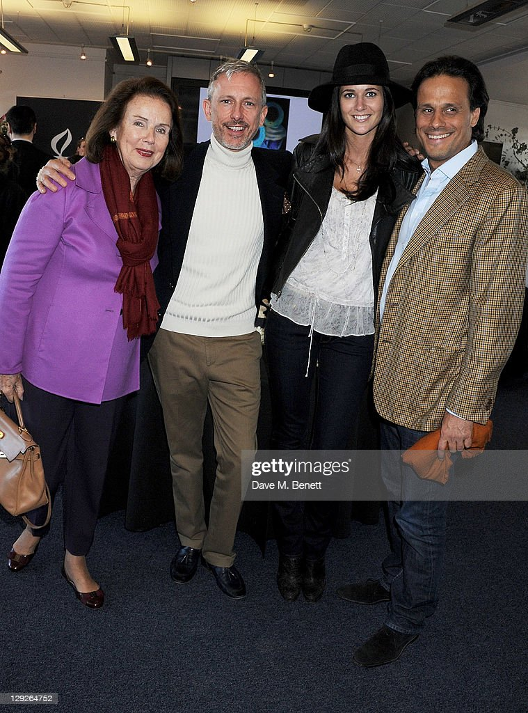 Gunnar Nayar, Patrick Cox, Kim Johnson and Arun Nayar attend the AMNESTEA Party hosted by Patrick Cox to celebrate Amnesty International's 50th Anniversary and launch 'Art Cakes & Cookies' at Royal Institute of British Architects on October 15, 2011 in London, England.