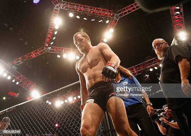 Gunnar Nelson exits the Octagon after defeating Brandon Thatch in their welterweight fight during the UFC 189 event inside MGM Grand Garden Arena on...