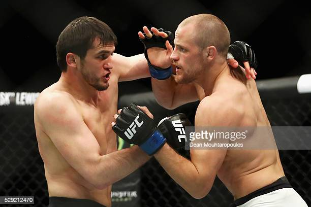 Gunnar Nelson of Iceland battles with Albert Tumenov of Russia after their Welterweight bout during the UFC Fight Night 87 at Ahoy on May 8 2016 in...