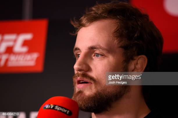 Gunnar Nelson of Iceland interacts with media during the UFC Ultimate Media Day at Glaziers Hall on March 16 2017 in London England