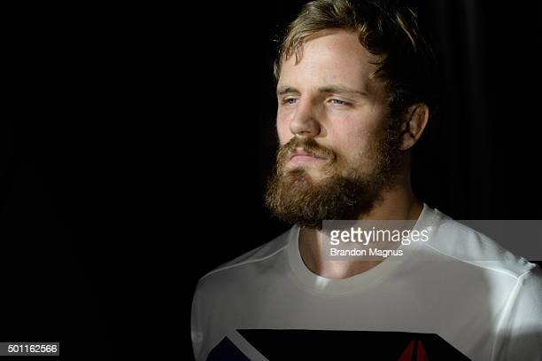 Gunnar Nelson of Iceland prepares to walk to the Octagon to face Demian Maia of Brazil during the UFC 194 event inside MGM Grand Garden Arena on...