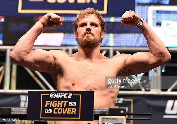 Gunnar Nelson of Iceland weighs in during the UFC 194 weighin inside MGM Grand Garden Arena on December 10 2015 in Las Vegas Nevada