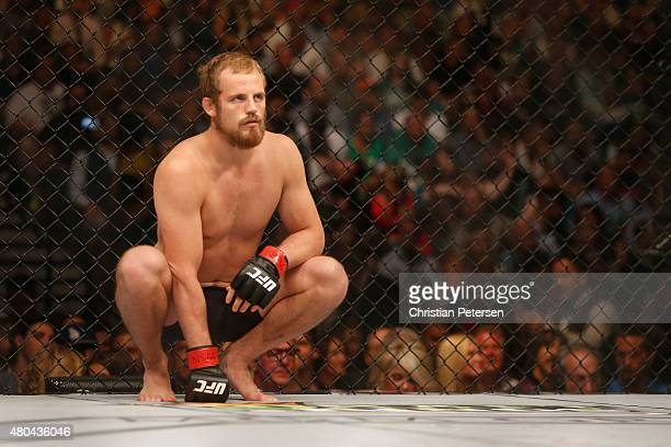 Gunnar Nelson prepares to face Brandon Thatch in their welterweight fight during the UFC 189 event inside MGM Grand Garden Arena on July 11 2015 in...