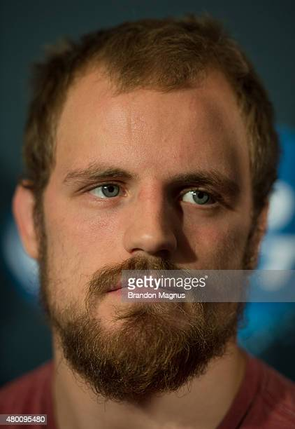 Gunnar Nelson speaks to the media during the UFC 189 TUF Finale Ultimate Media Day at MGM Grand Hotel Casino on July 9 2015 in Las Vegas Nevada