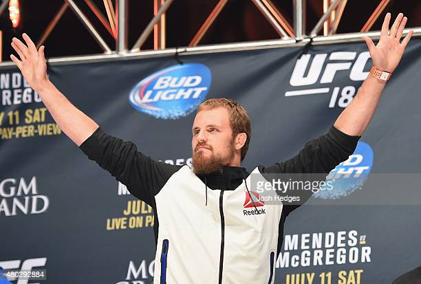 Gunnar Nelson walks onto the stage during the UFC 189 weighin inside MGM Grand Garden Arena on July 10 2015 in Las Vegas Nevada