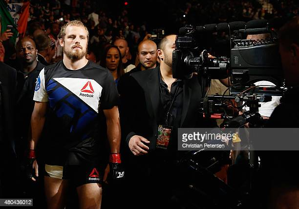 Gunnar Nelson walks to the Octagon to face Brandon Thatch in their welterweight fight during the UFC 189 event inside MGM Grand Garden Arena on July...