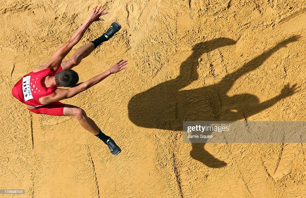 <a gi-track='captionPersonalityLinkClicked' href=/galleries/search?phrase=Gunnar+Nixon&family=editorial&specificpeople=9530740 ng-click='$event.stopPropagation()'>Gunnar Nixon</a> of the United States competes in the Men's Decathlon Long Jump during Day One of the 14th IAAF World Athletics Championships Moscow 2013 at Luzhniki Stadium on August 10, 2013 in Moscow, Russia.