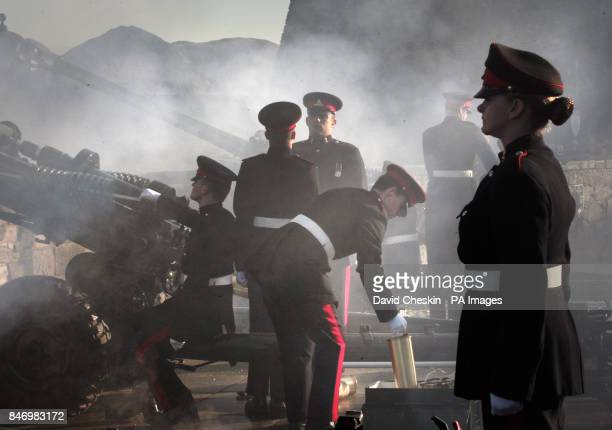 Gunners from 105 Regiment Royal Artillery fire a 21 gun Royal Salute from Edinburgh Castle to celebrate the 60th anniversary of the Queen's accession...