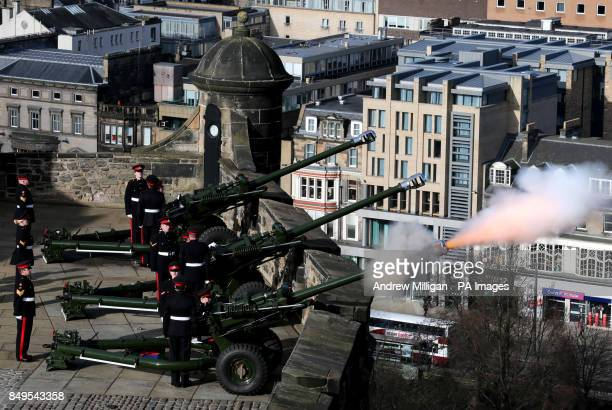 Gunners from the 105th Regiment Royal Artillery fire a 21Gun Royal Salute at Edinburgh Castle to commemorate the Queen's Accession to the throne